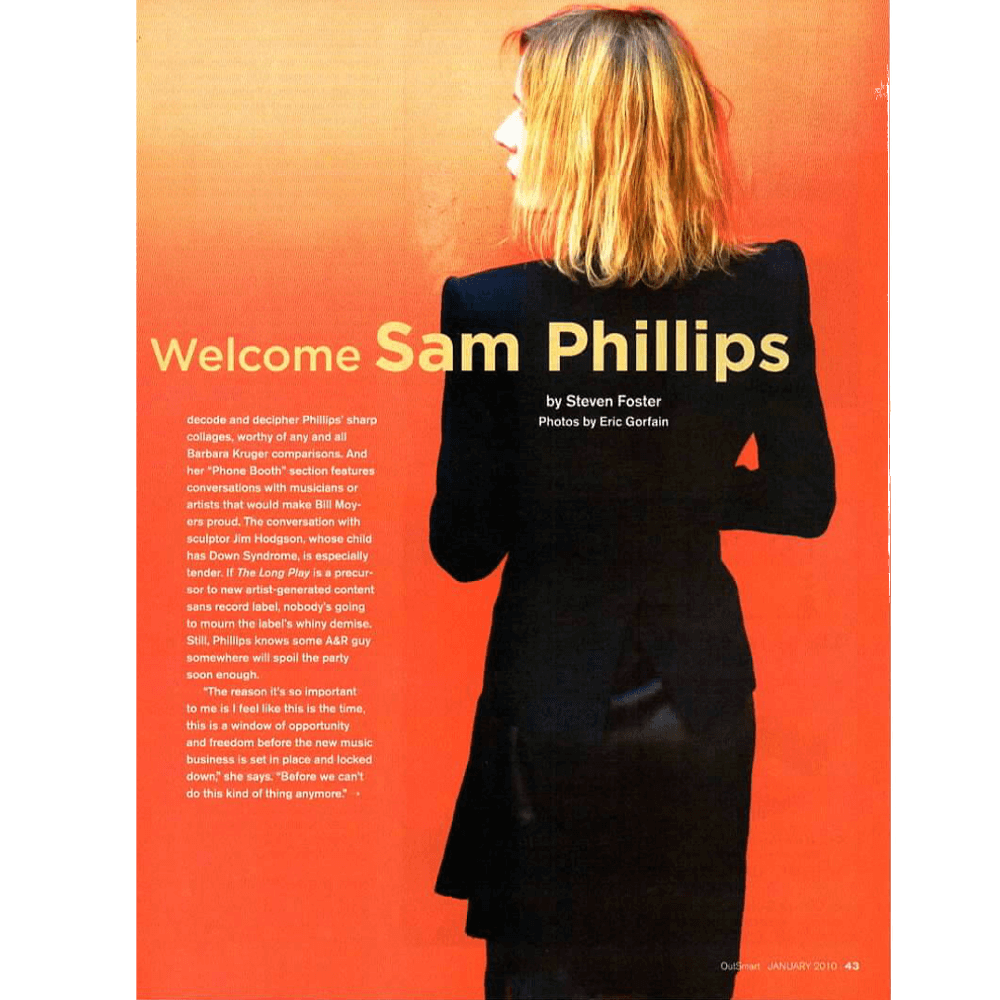 Singer songwriter Sam Phillips in black on an orange background
